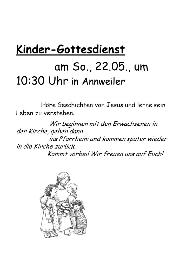 am So., 22.05., um 10:30 Uhr in Annweiler