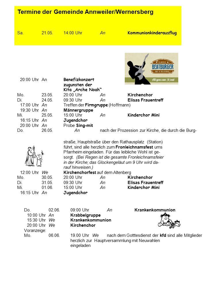 Termine der Gemeinde Annweiler/Wernersberg