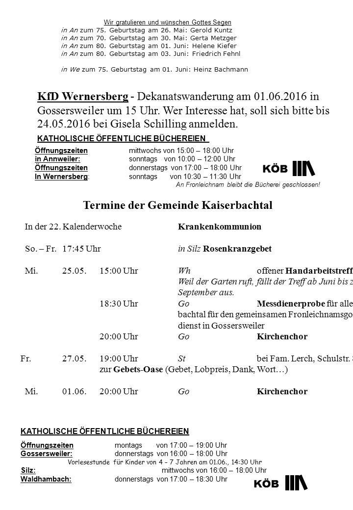 Termine der Gemeinde Kaiserbachtal