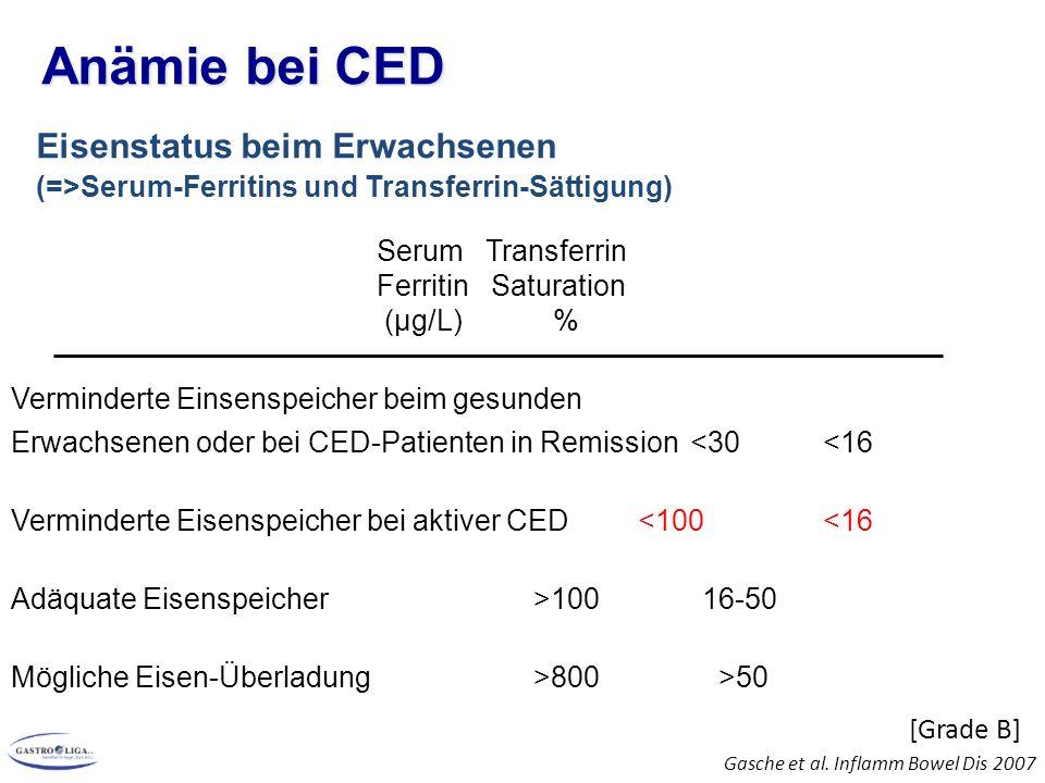 Anämie bei CED Eisenstatus beim Erwachsenen (=>Serum-Ferritins und Transferrin-Sättigung)