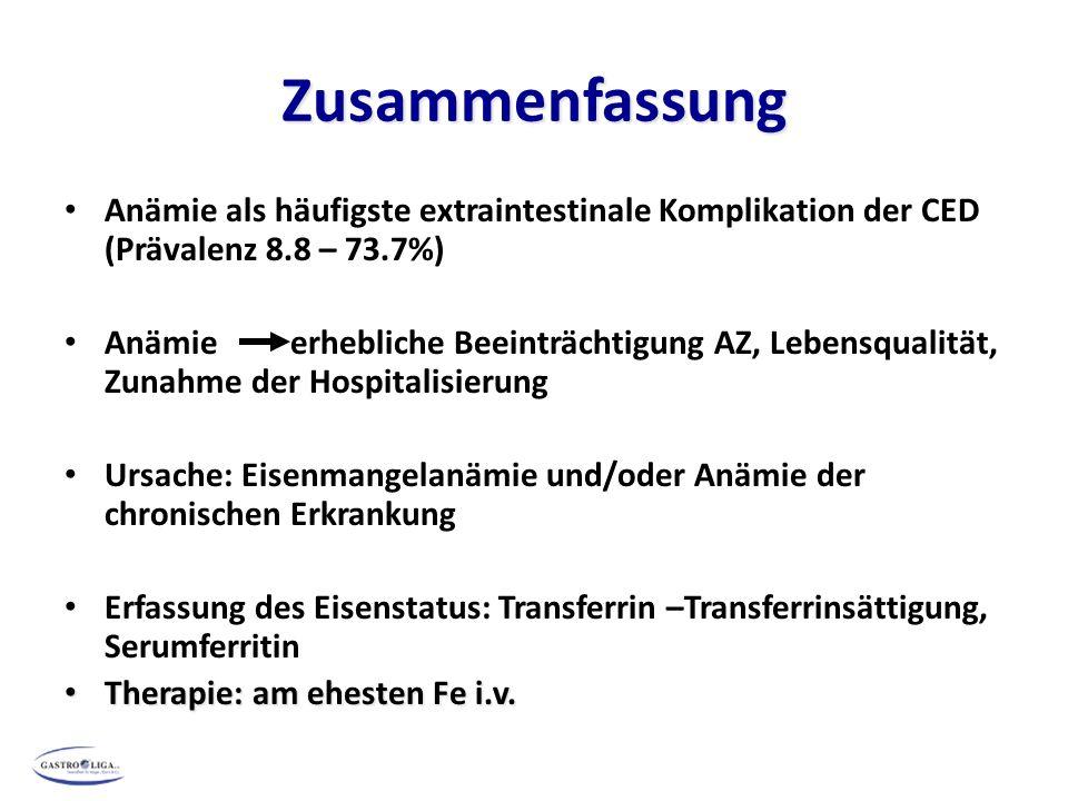 Zusammenfassung Anämie als häufigste extraintestinale Komplikation der CED (Prävalenz 8.8 – 73.7%)