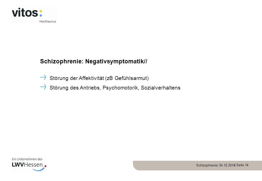 Schizophrenie: Negativsymptomatik//
