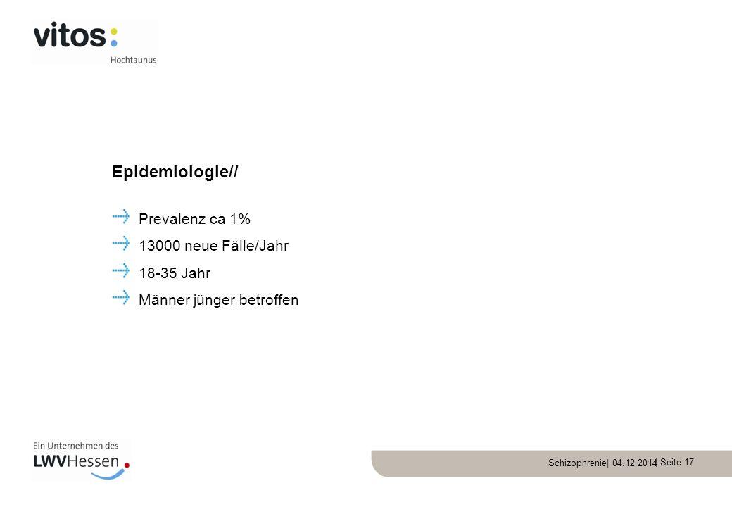 Epidemiologie// Prevalenz ca 1% 13000 neue Fälle/Jahr 18-35 Jahr