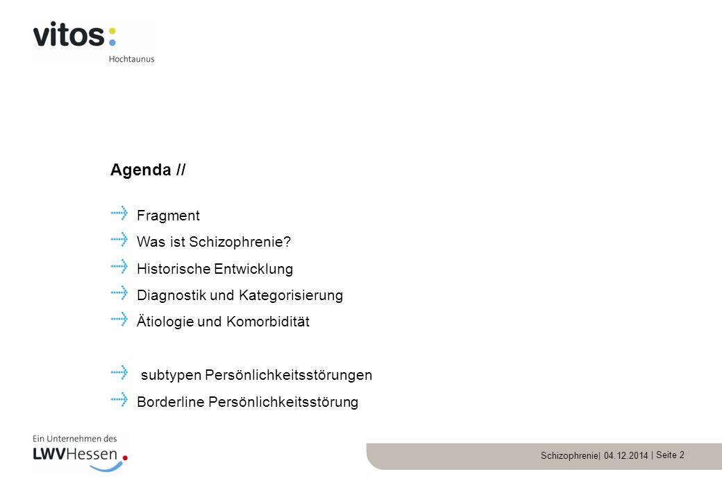 Agenda // Fragment Was ist Schizophrenie Historische Entwicklung