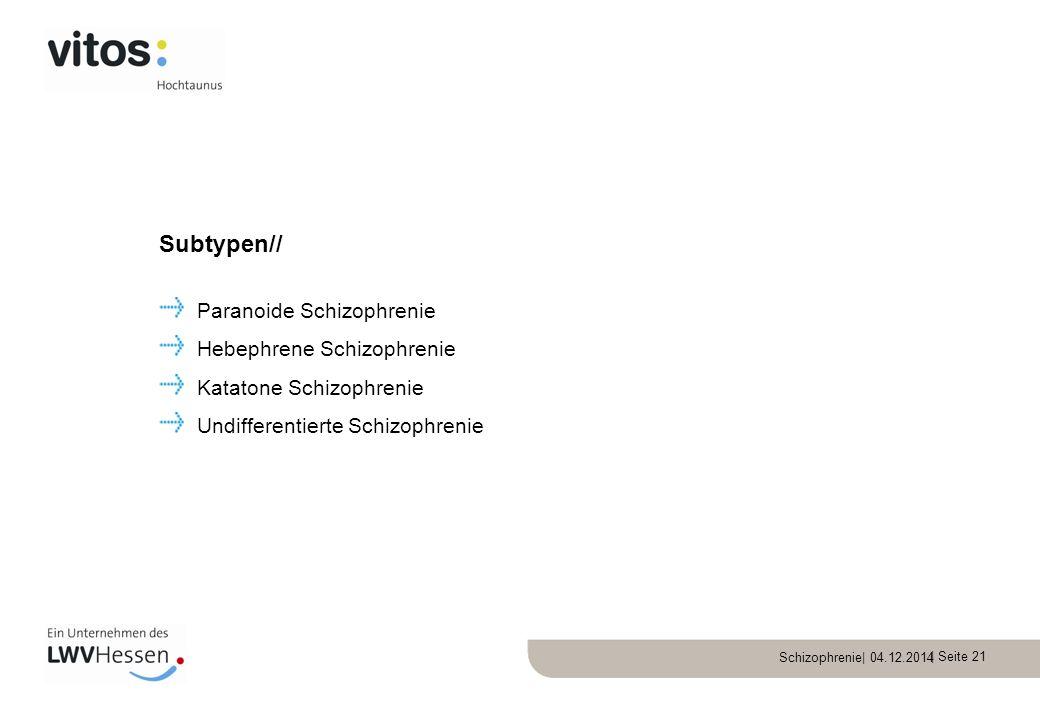 Subtypen// Paranoide Schizophrenie Hebephrene Schizophrenie