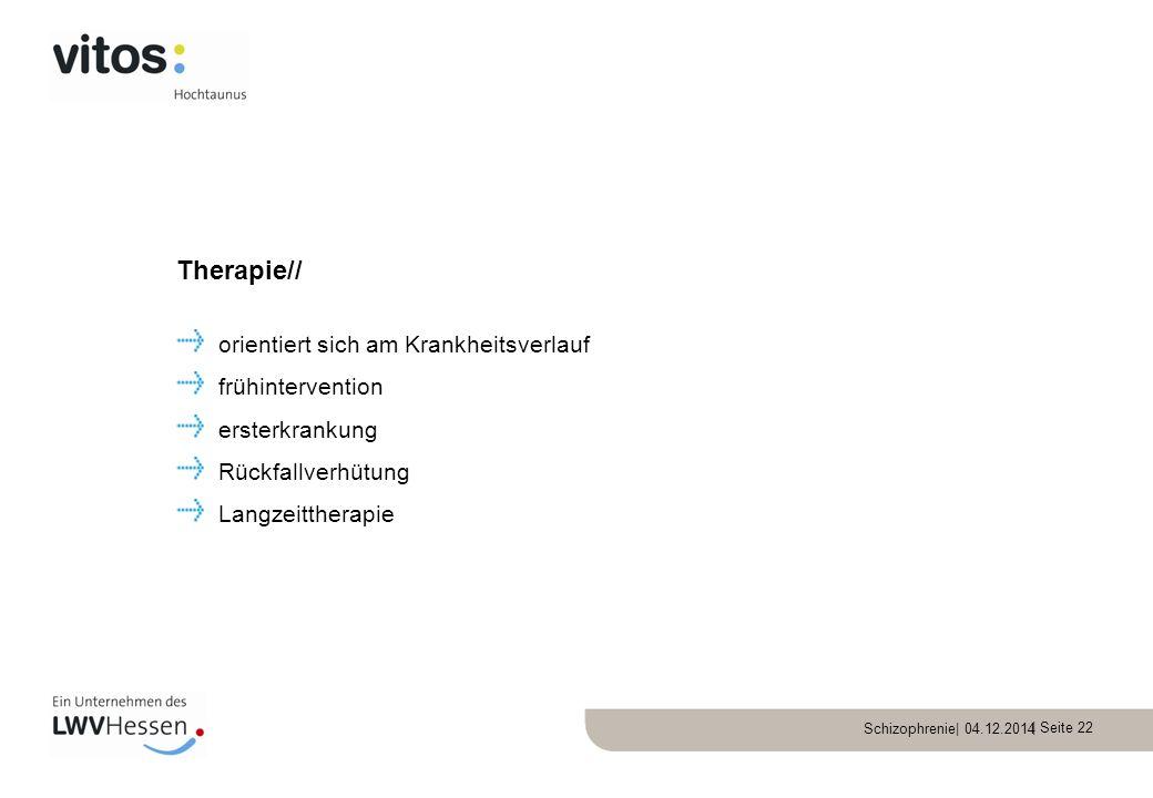 Therapie// orientiert sich am Krankheitsverlauf frühintervention