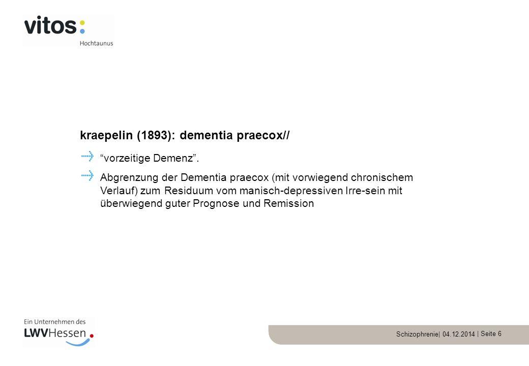 kraepelin (1893): dementia praecox//