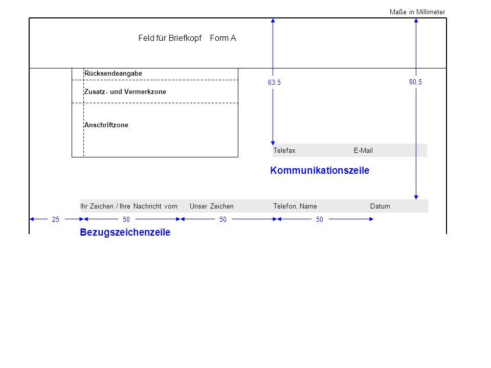 Kommunikationszeile Bezugszeichenzeile Feld für Briefkopf Form A