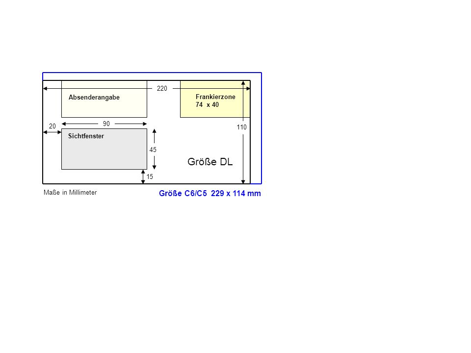 Größe DL Größe C6/C5 229 x 114 mm 220 Absenderangabe