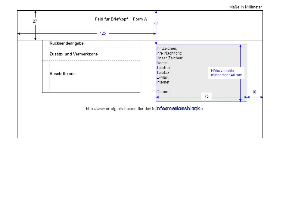 Informationsblock Maße in Millimeter Feld für Briefkopf Form A 27 32