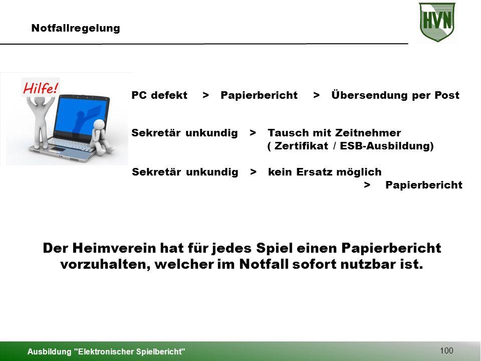 Notfallregelung PC defekt > Papierbericht > Übersendung per Post. Sekretär unkundig > Tausch mit Zeitnehmer.
