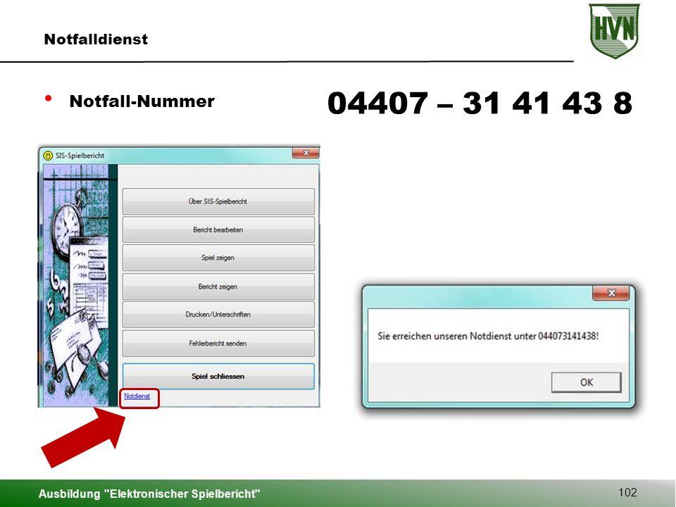 04407 – 31 41 43 8 Notfall-Nummer Notfalldienst