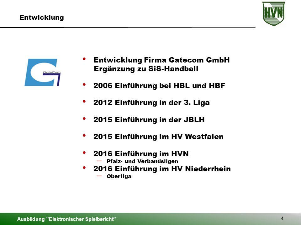 Entwicklung Firma Gatecom GmbH Ergänzung zu SiS-Handball