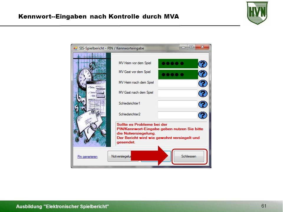 Kennwort--Eingaben nach Kontrolle durch MVA
