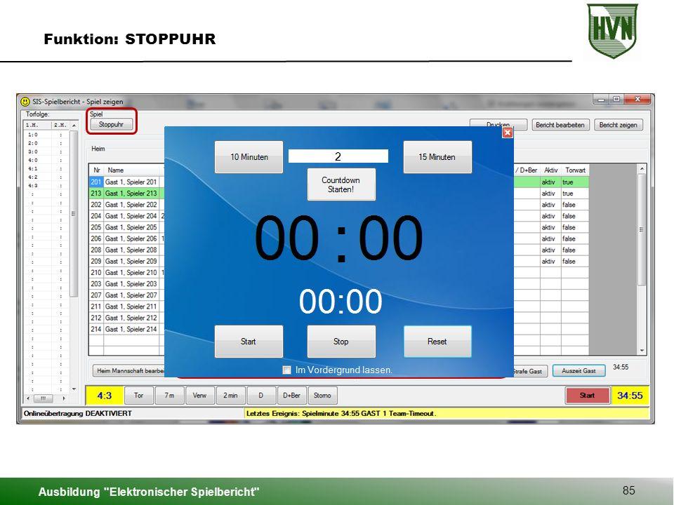 Funktion: STOPPUHR Ausbildung Elektronischer Spielbericht