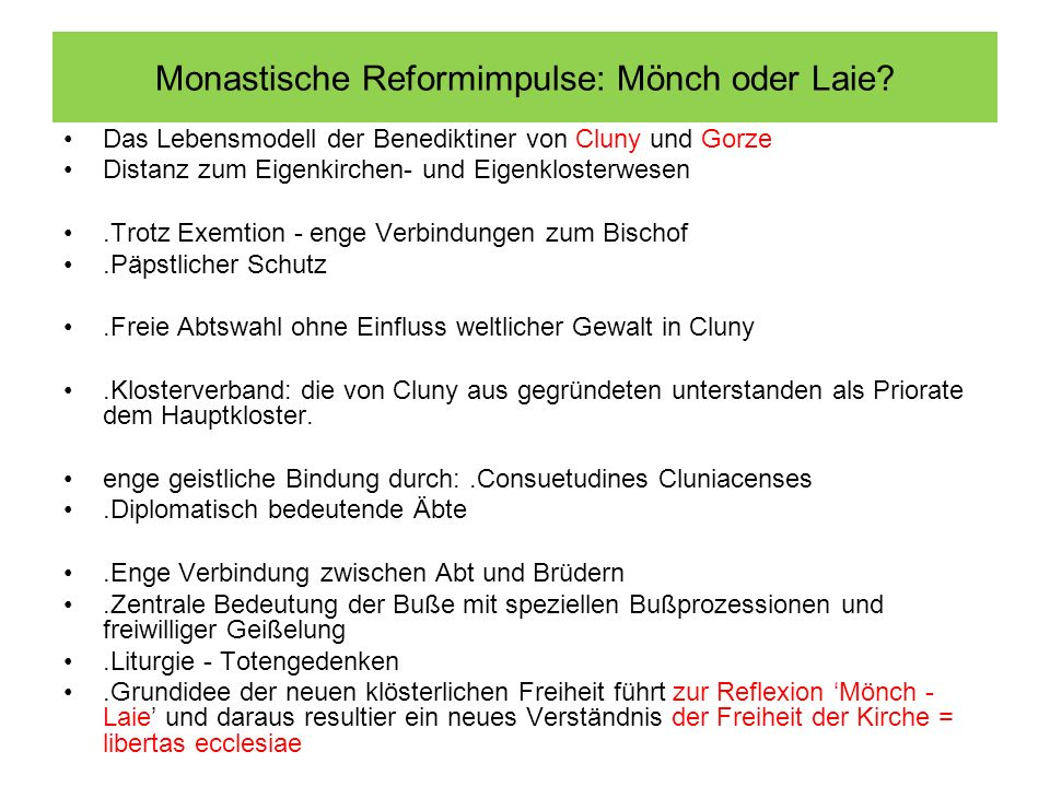 Monastische Reformimpulse: Mönch oder Laie