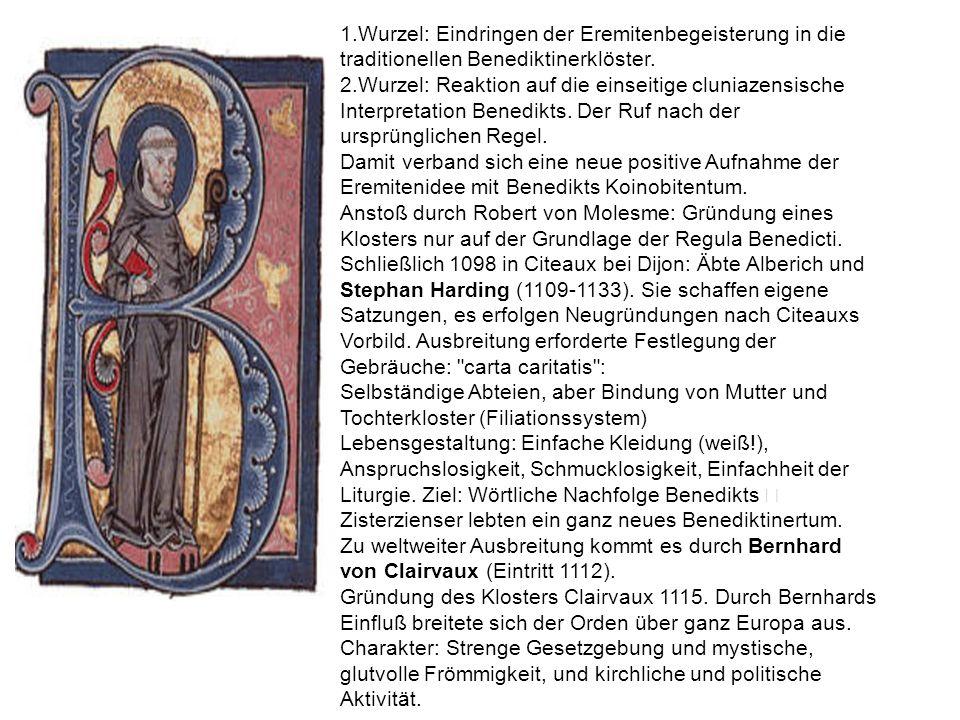 1.Wurzel: Eindringen der Eremitenbegeisterung in die traditionellen Benediktinerklöster.