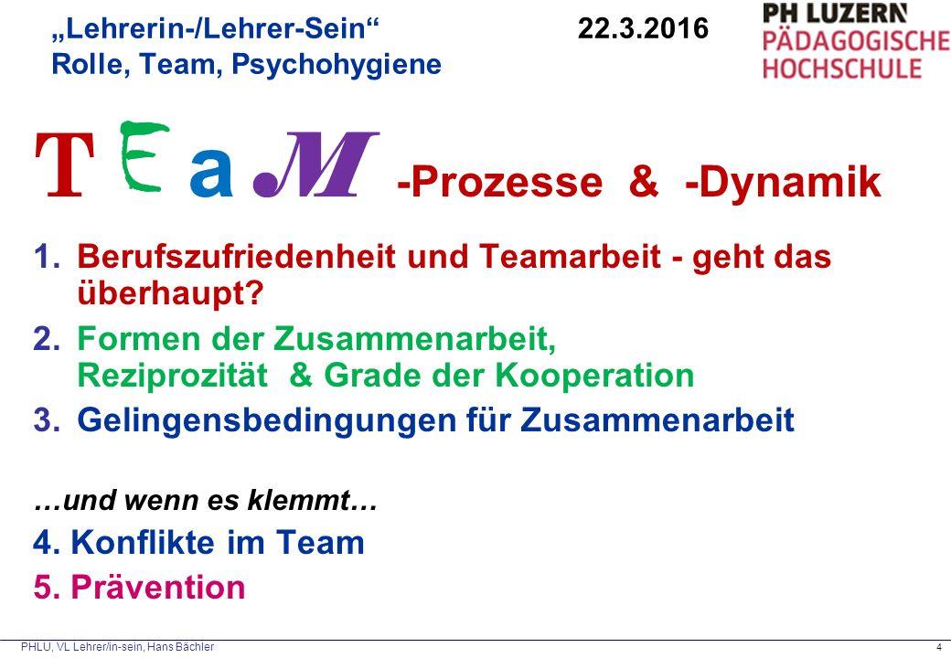 """""""Lehrerin-/Lehrer-Sein 22.3.2016 Rolle, Team, Psychohygiene"""