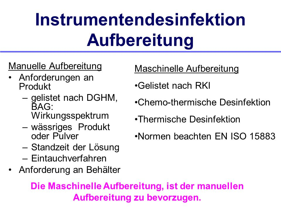 Instrumentendesinfektion Aufbereitung