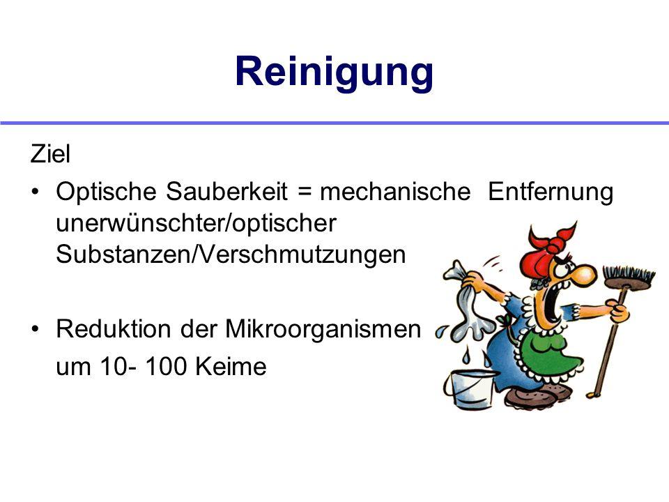 Reinigung Ziel. Optische Sauberkeit = mechanische Entfernung unerwünschter/optischer Substanzen/Verschmutzungen.