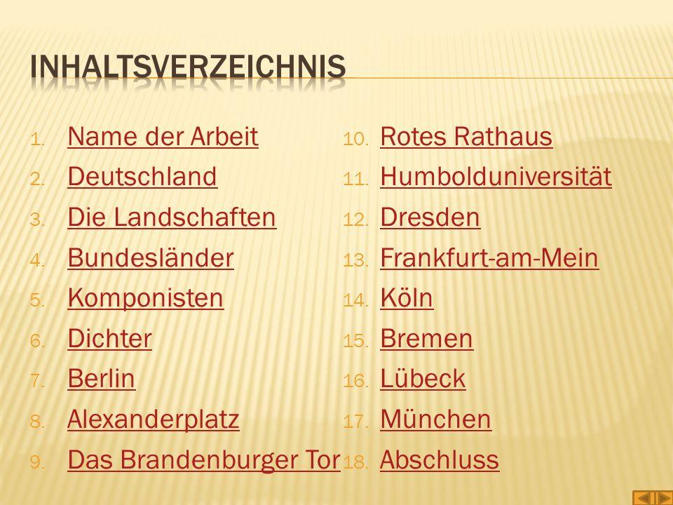 Inhaltsverzeichnis Name der Arbeit Rotes Rathaus Deutschland