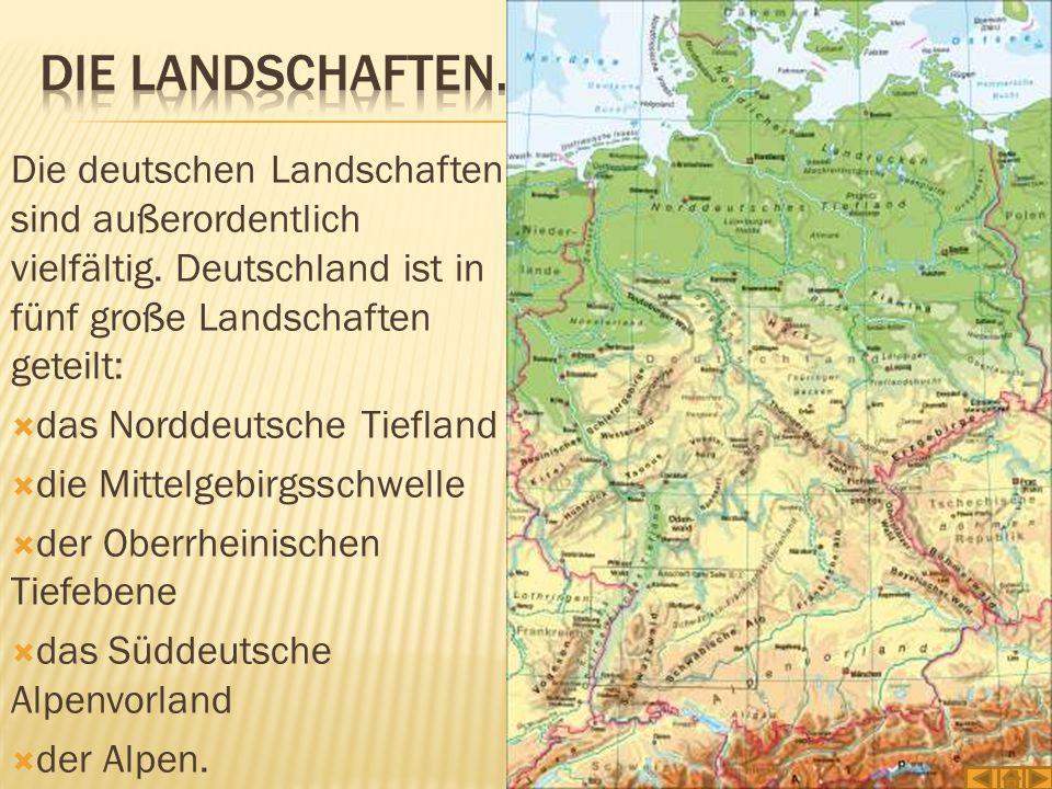Die Landschaften. Die deutschen Landschaften sind außerordentlich vielfältig. Deutschland ist in fünf große Landschaften geteilt: