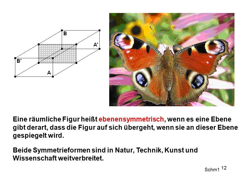 Eine räumliche Figur heißt ebenensymmetrisch, wenn es eine Ebene