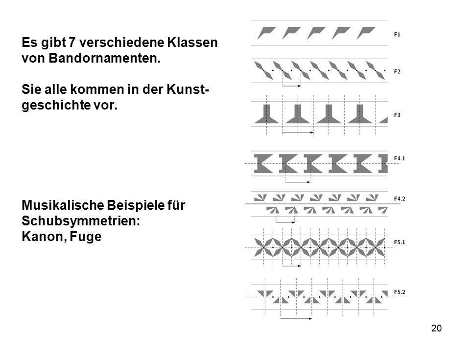 Es gibt 7 verschiedene Klassen von Bandornamenten.