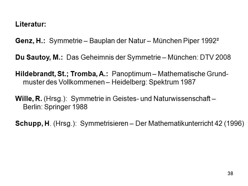 Literatur: Genz, H.: Symmetrie – Bauplan der Natur – München Piper 1992². Du Sautoy, M.: Das Geheimnis der Symmetrie – München: DTV 2008.