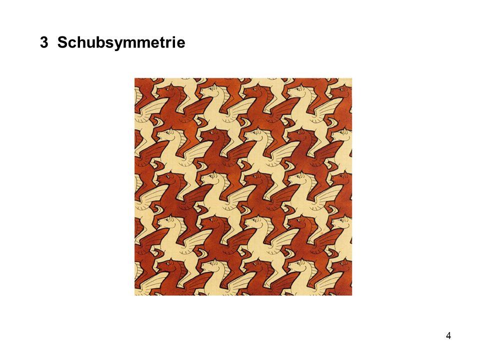 3 Schubsymmetrie Escher-Bild. Mühelos auf die ganze Ebene fortsetzbar. Mit b, nicht mit zwei pp