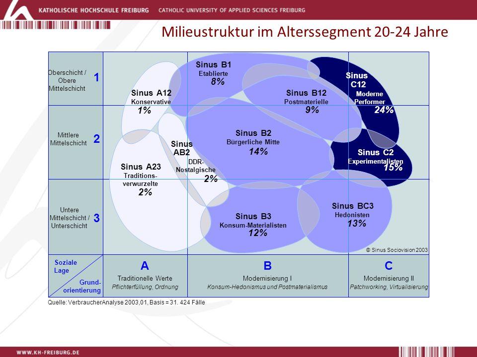 Milieustruktur im Alterssegment 20-24 Jahre