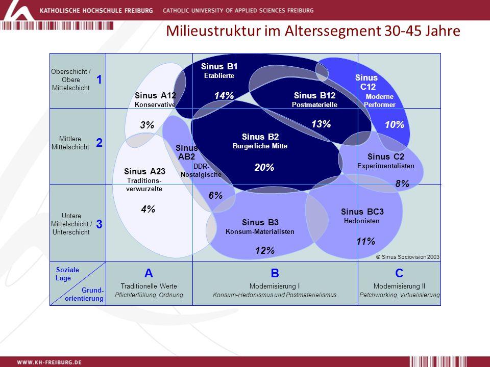 Milieustruktur im Alterssegment 30-45 Jahre