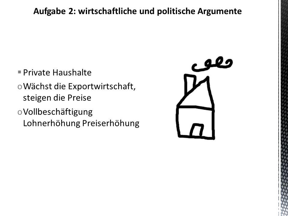 Aufgabe 2: wirtschaftliche und politische Argumente