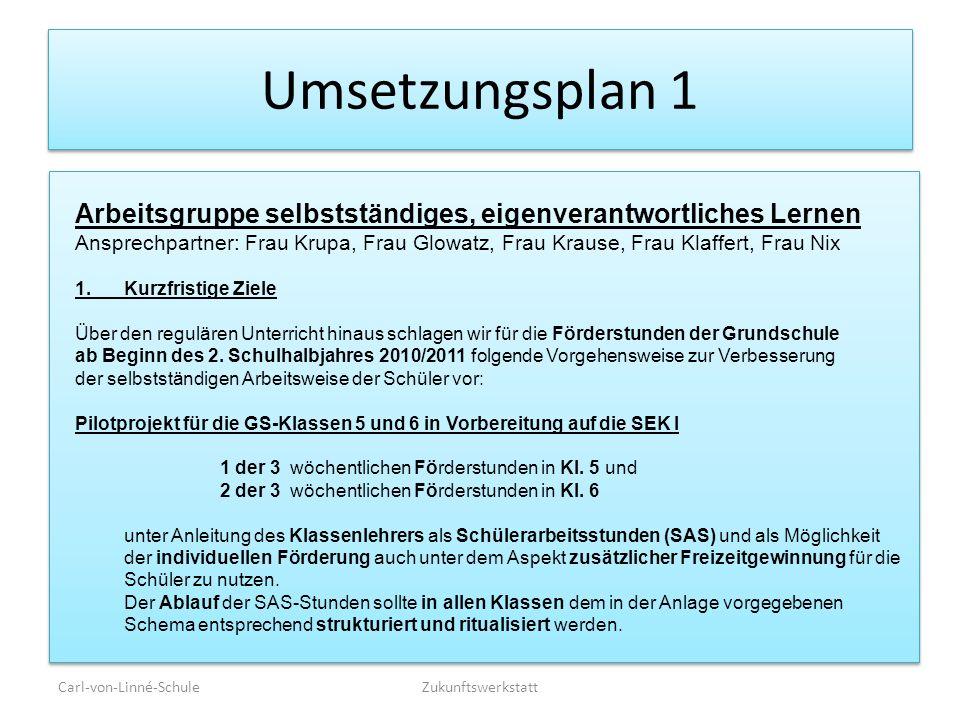 Umsetzungsplan 1 Arbeitsgruppe selbstständiges, eigenverantwortliches Lernen.