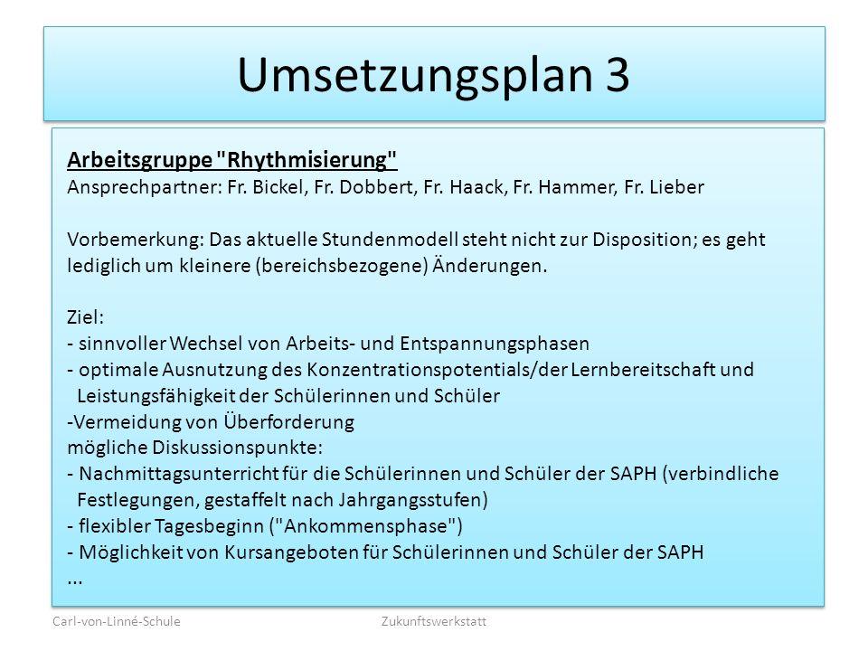 Umsetzungsplan 3 Arbeitsgruppe Rhythmisierung