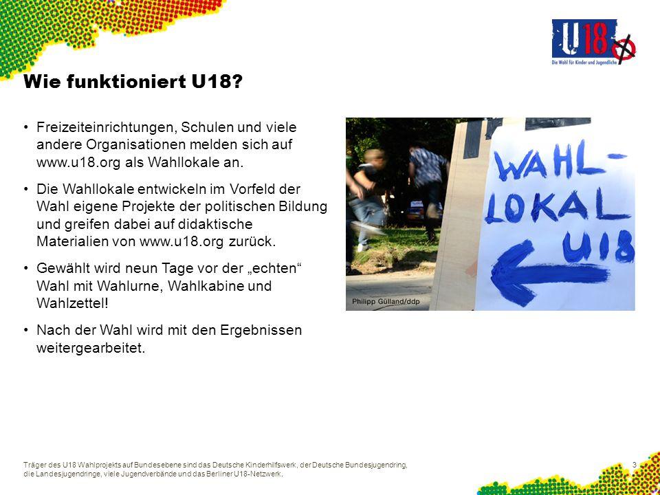 Wie funktioniert U18 Freizeiteinrichtungen, Schulen und viele andere Organisationen melden sich auf www.u18.org als Wahllokale an.