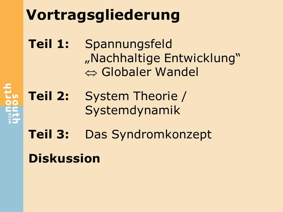 """Vortragsgliederung Teil 1: Spannungsfeld """"Nachhaltige Entwicklung  Globaler Wandel. Teil 2: System Theorie / Systemdynamik."""