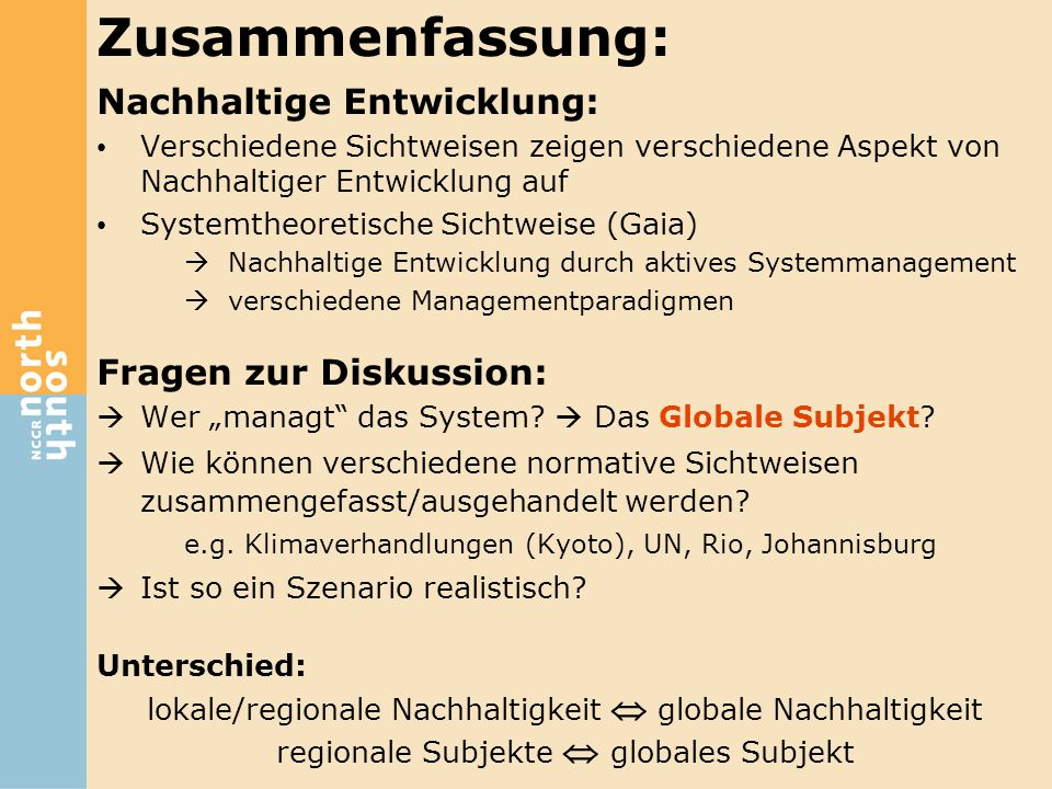 Zusammenfassung: Nachhaltige Entwicklung: Fragen zur Diskussion: