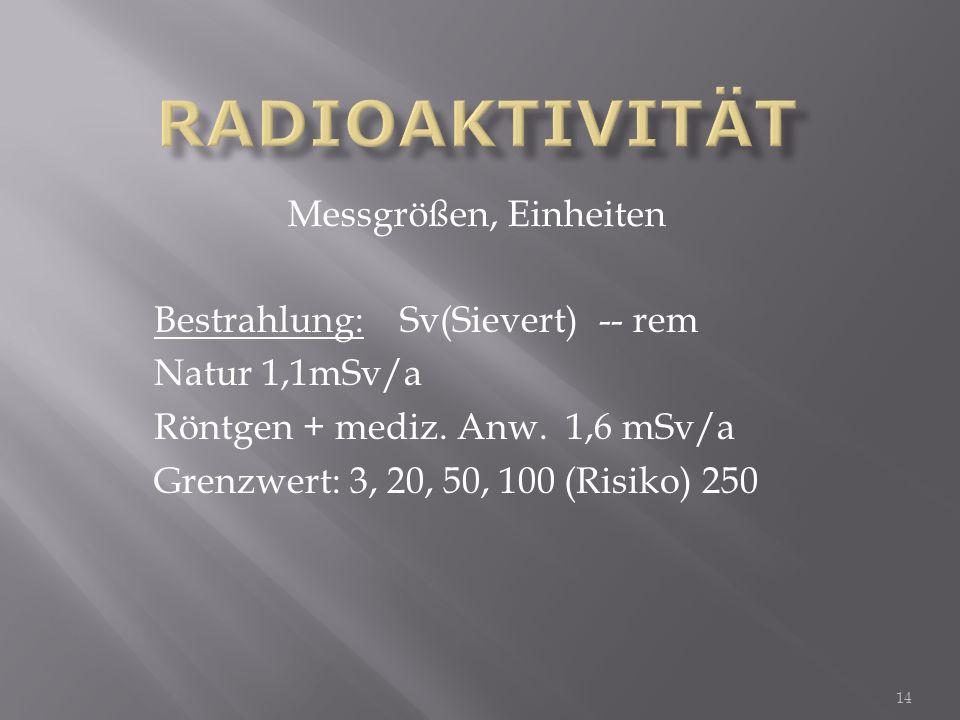 Radioaktivität Messgrößen, Einheiten Bestrahlung: Sv(Sievert) -- rem