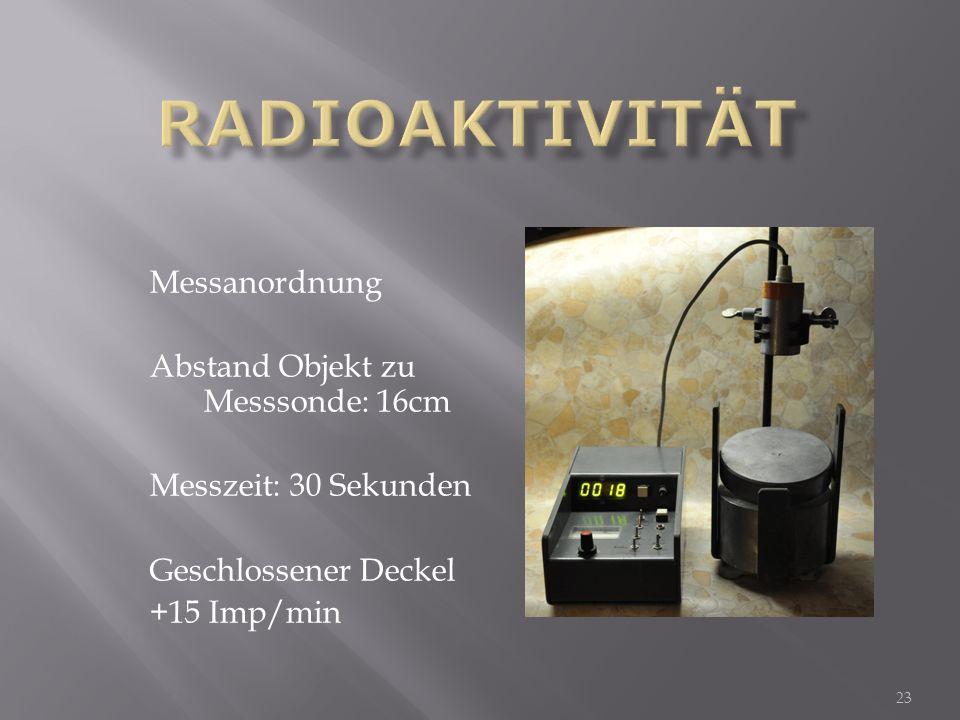 Radioaktivität Messanordnung Abstand Objekt zu Messsonde: 16cm
