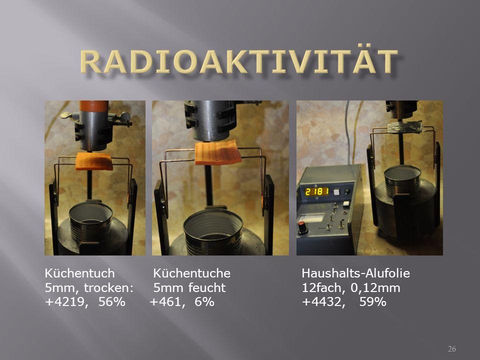 Radioaktivität Küchentuch Küchentuche Haushalts-Alufolie