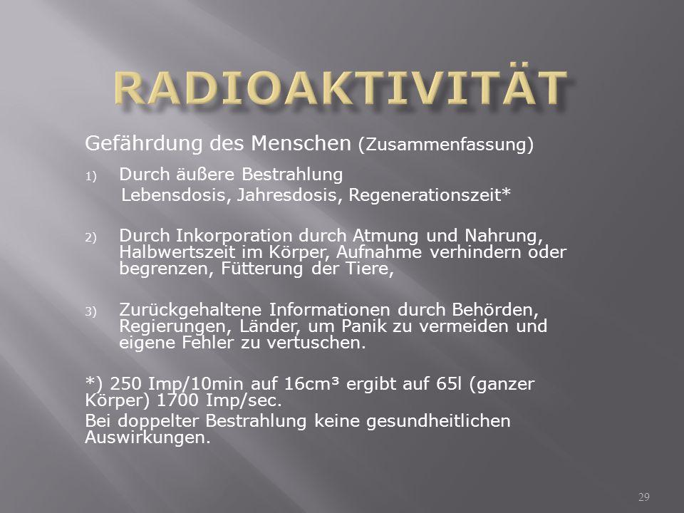 Radioaktivität Gefährdung des Menschen (Zusammenfassung)