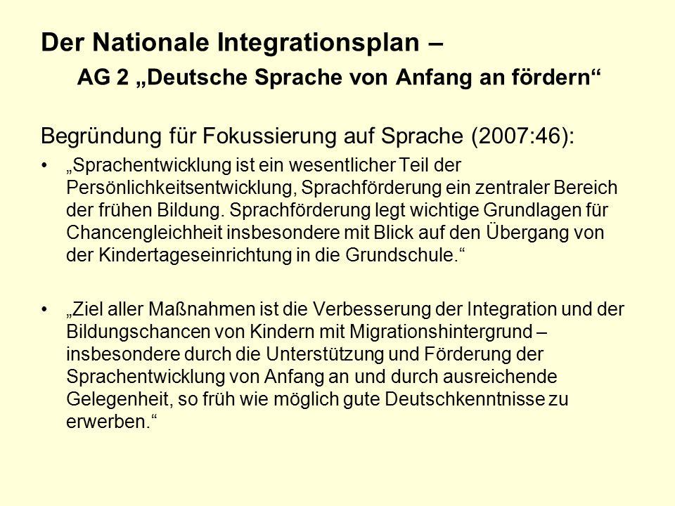 """Der Nationale Integrationsplan – AG 2 """"Deutsche Sprache von Anfang an fördern"""