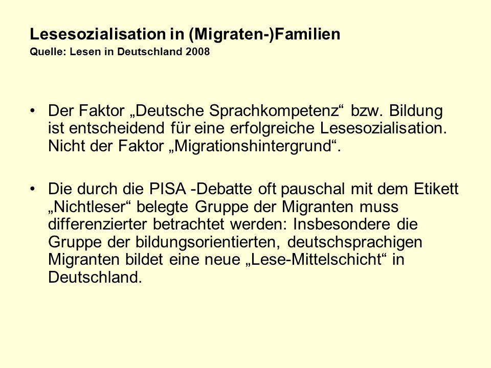 Lesesozialisation in (Migraten-)Familien Quelle: Lesen in Deutschland 2008