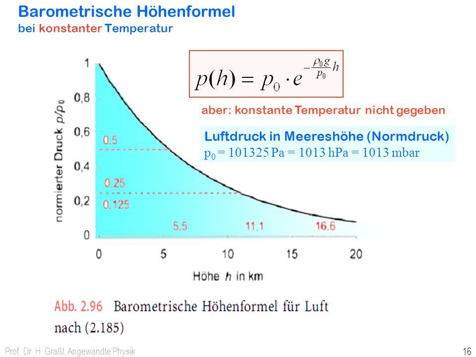 Barometrische Höhenformel bei konstanter Temperatur