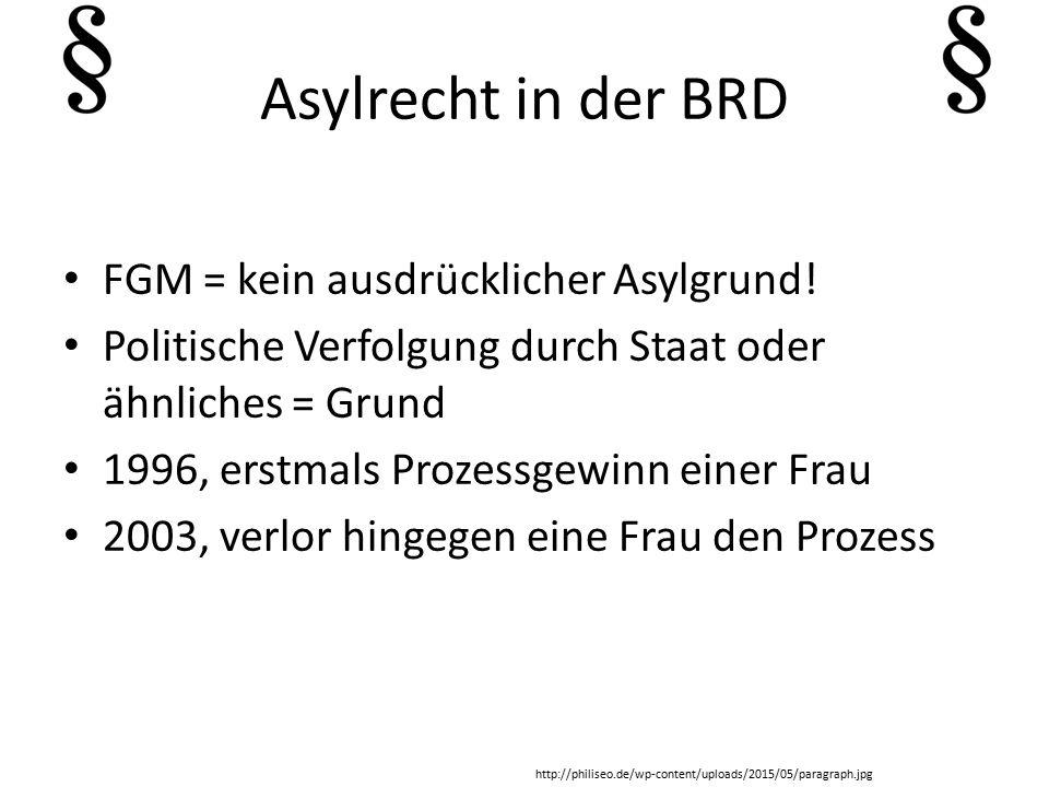 Asylrecht in der BRD FGM = kein ausdrücklicher Asylgrund!