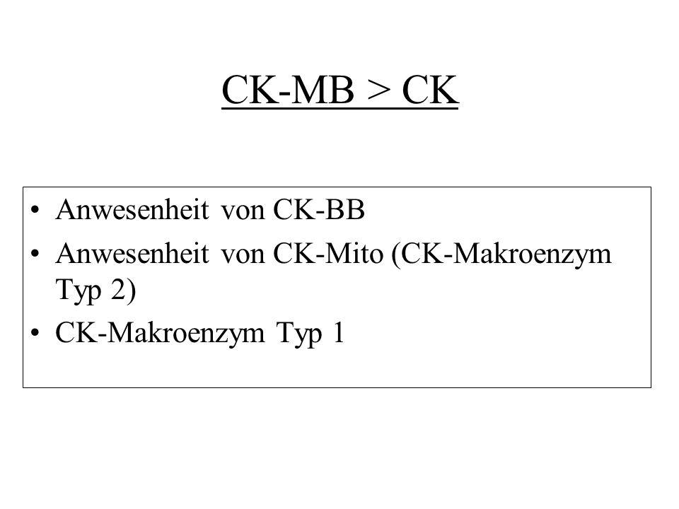 CK-MB > CK Anwesenheit von CK-BB