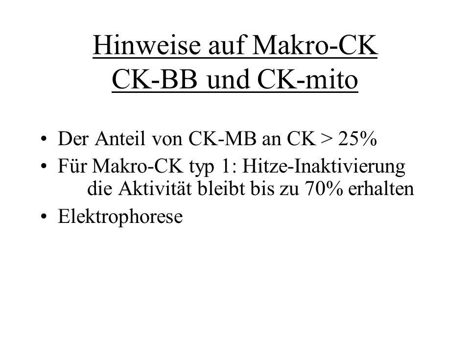 Hinweise auf Makro-CK CK-BB und CK-mito
