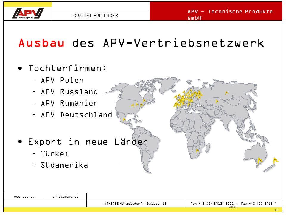 Ausbau des APV-Vertriebsnetzwerk