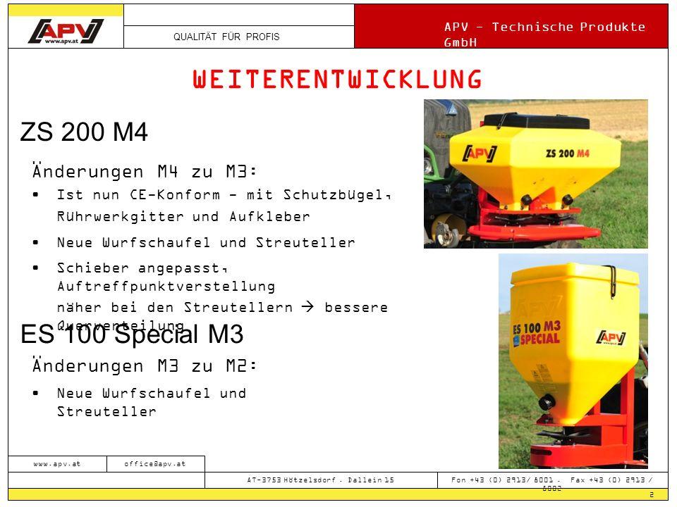WEITERENTWICKLUNG ZS 200 M4 ES 100 Special M3 Änderungen M4 zu M3: